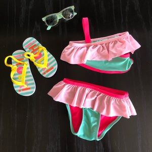 Cat & Jack teal green & Hot Pink Ruffle bikini 3T